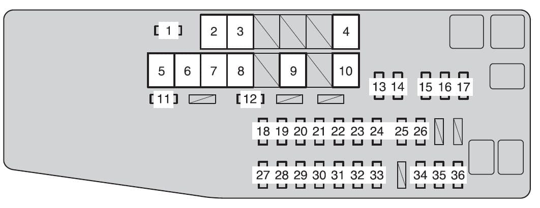 Toyota Avalon Fourth Generation - fuse box - engine compartment