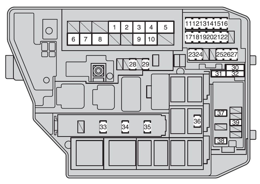 Toyota Corolla mk10 - fuse box - engine compartment