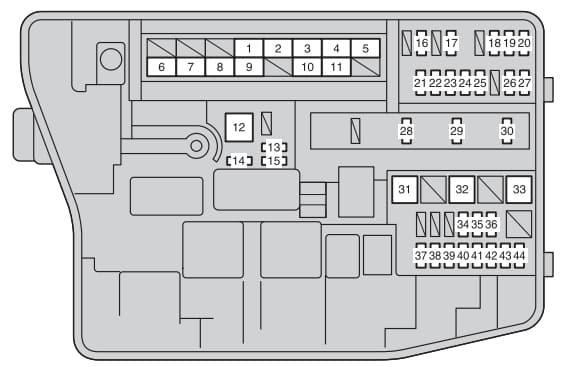 Toyota Corolla mk11 - fuse box - engine compartment
