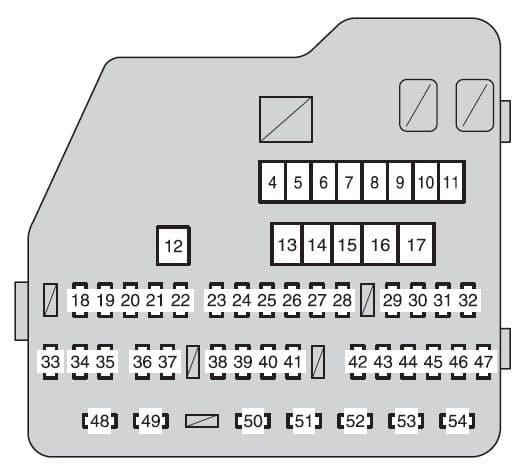 Toyota Highlander Hybrid - fuse box - engine compartment (type A - fuse block)