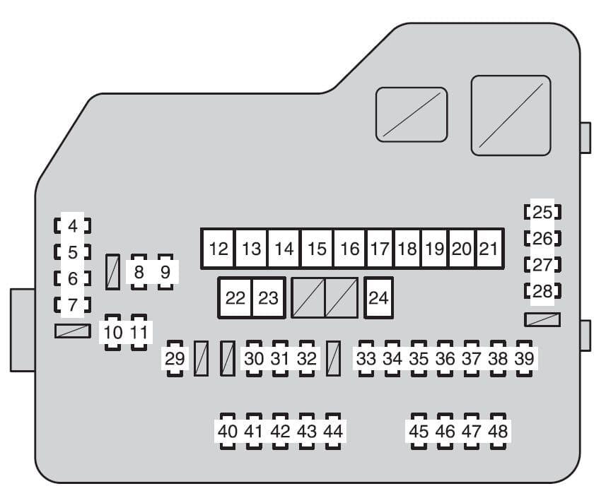 Toyota Highlander mk2 - fuse box- engine compartment (type A fuse block)