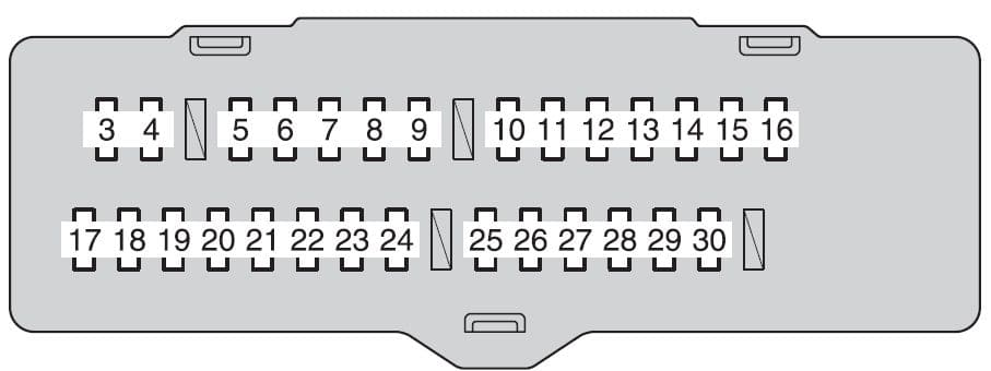 Toyota Highlander mk2 - fuse box - instrument panel (fuse block)