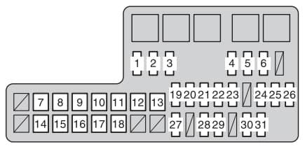 Toyota Hilux mk7 - fuse box - engine compartment
