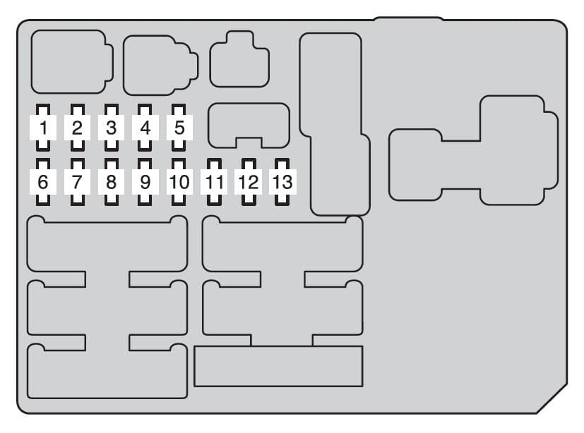 Toyota Hilux mk8 - fuse box - instrument panel (driver's side - front side)