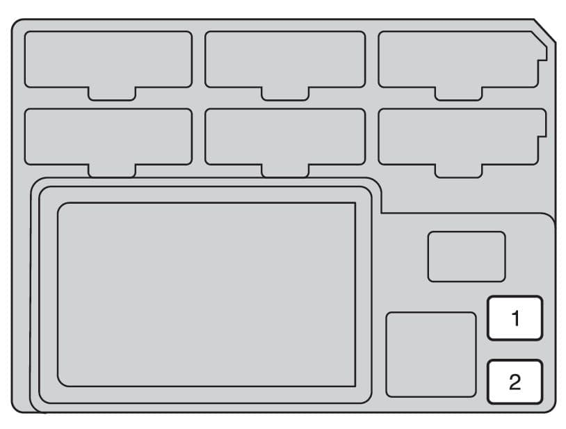 Toyota Hilux mk8 - fuse box - instrument panel (driver's side - rear side)