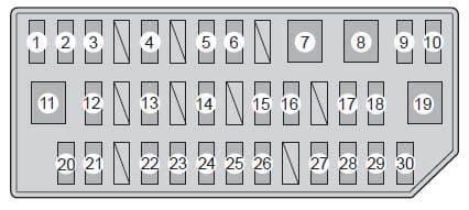 Toyota Prius mk3 - fuse box - left side instrument panel
