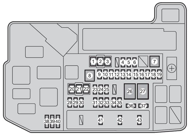 Toyota Prius V - fuse box - engine compartment