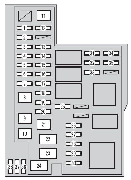 Toyota RAV4 mk4 - fuse box - engine compartment (type A)