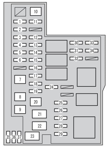 Toyota RAV4 mk4 - fuse box - engine compartment (typeA)