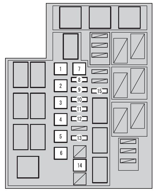 Toyota RAV4 mk4 - fuse box - engine compartment (type B)