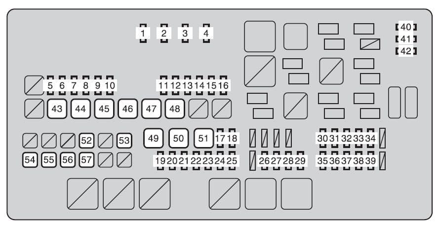 Toyota Sequoia mk2 - fuse box - engine compartment