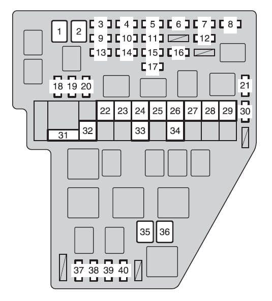 Toyota Sienna mk2 - fuse box - engine compartment