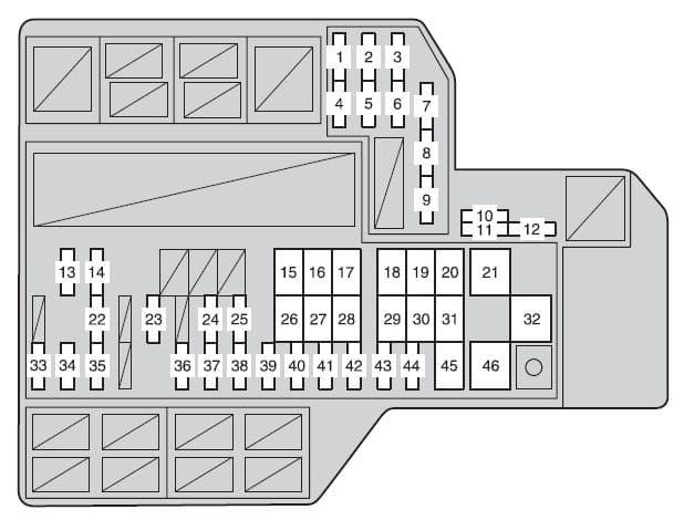 Toyota Sienna mk3 - fuse box - engine compartment