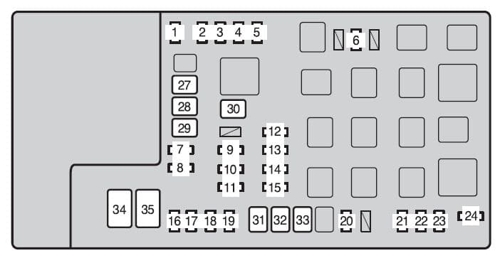 Toyota Tacoma mk2 - fuse box - engine compartment (type A)