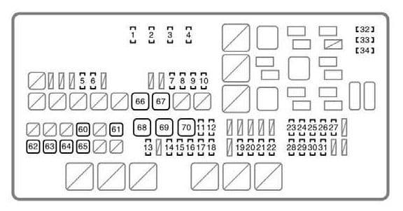 Toyota Tundra mk1 - fuse box - engine compartment