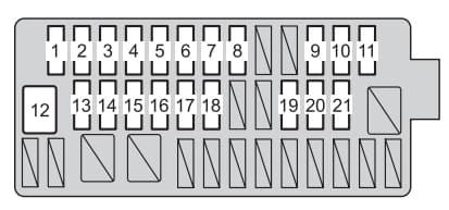 Toyota Yaris Hatchback mk3 - fuse box - instrument panel