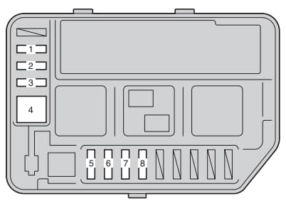 Toyota Yaris mk3 - fuse box - engine compartment (type B)