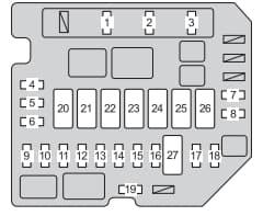 Toyota Yaris Sedan mk3 -fuse box - engine compartment type B