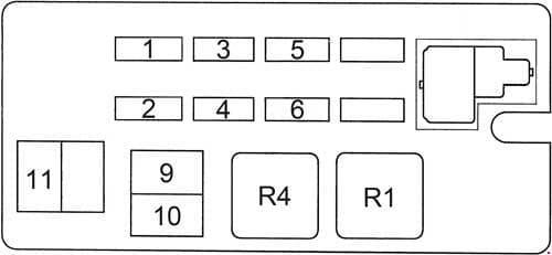 Toyota 4Runner - fuse box diagram - engine compartment fuse box (version 1)