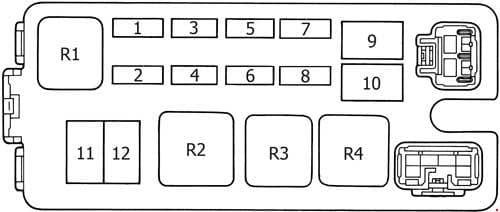 Toyota 4Runner - fuse box diagram - engine compartment fuse box (version 2)