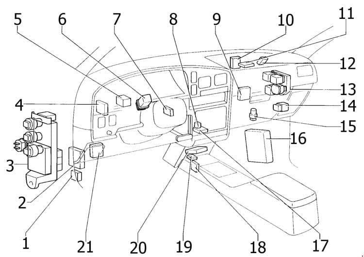 Toyota 4Runner - fuse box diagram - passenger compartment
