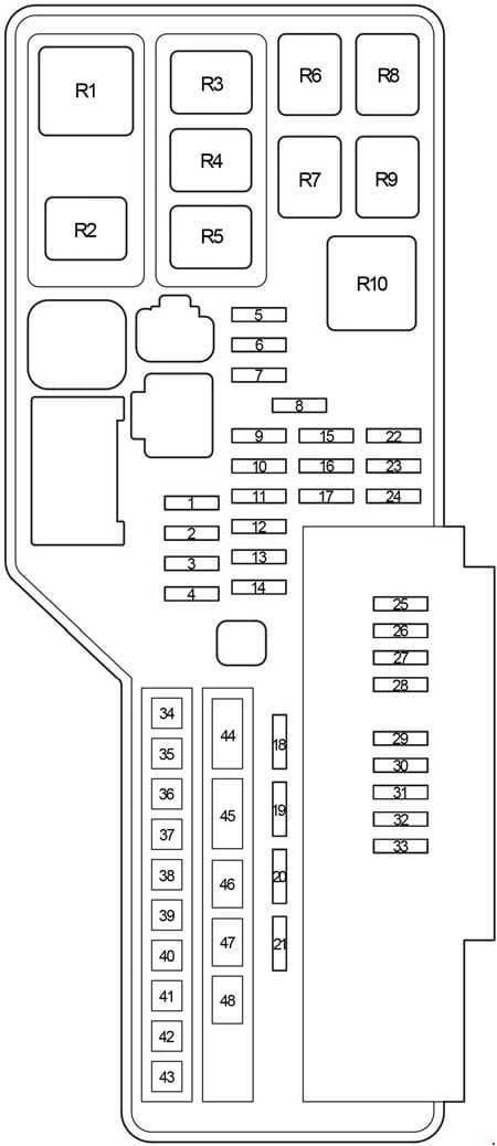 Toyota Aurion - fuse box diagram - engine compartment fuse box