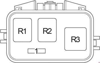 Toyota Avensis Verso - fuse box diagram - ABS relay box (type 1)