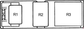 Toyota Camry - fuse box diagram - behind glove box