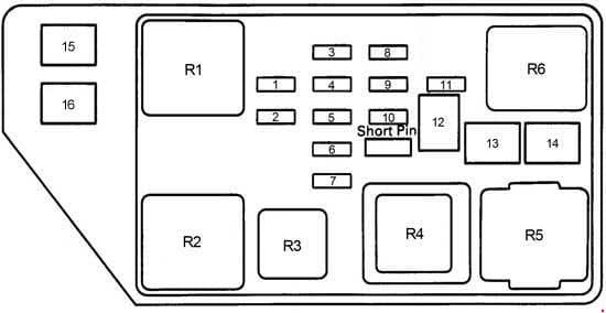 Toyota Camry - fuse box diagram - engine compartment fuse box