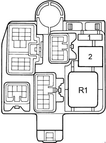 Toyota Camry - fuse box diagram - right kick panel (LHD)