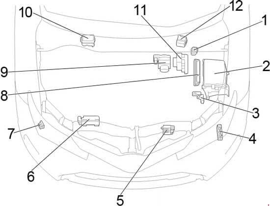 Toyota Corolla - fuse box diagram - engine compartment - location