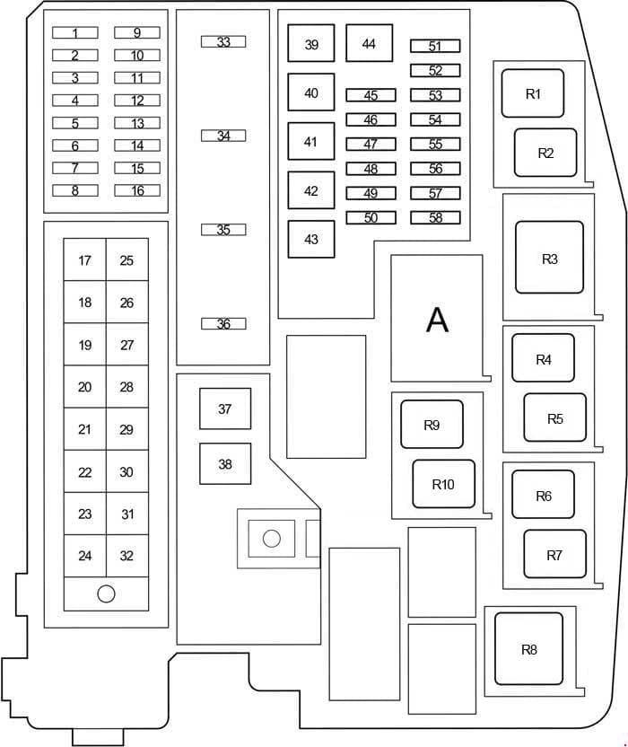 Toyota Corolla - fuse box diagram - engine compartment relay box