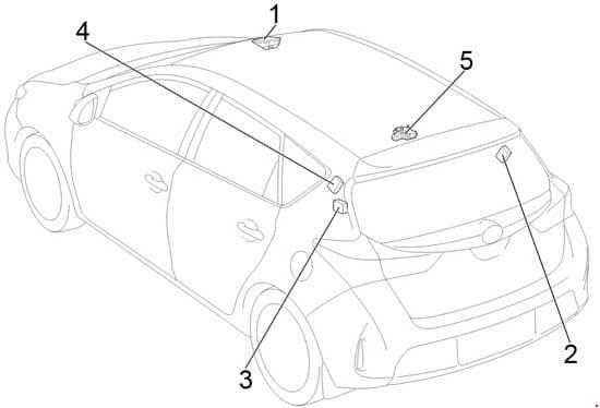 Toyota Corolla - fuse box diagram - location - hatchback