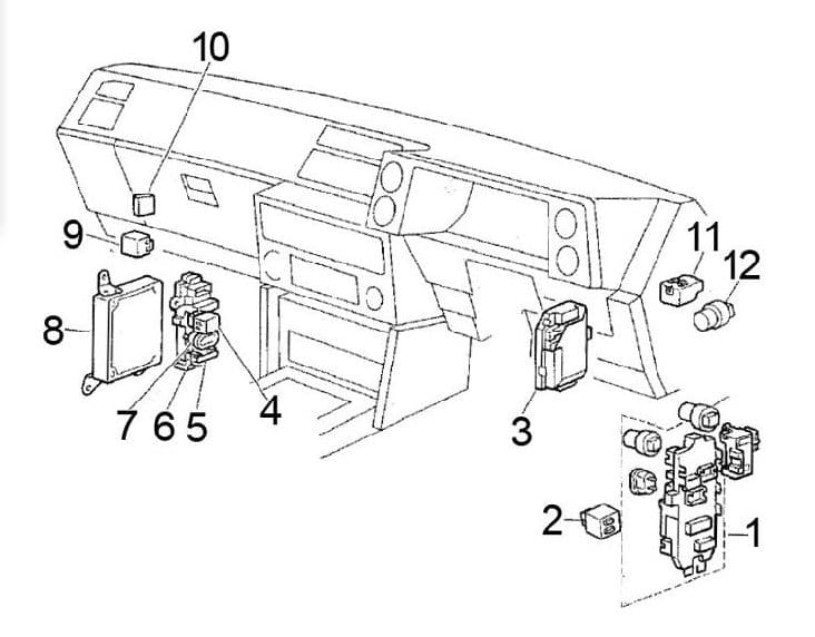 Toyota Corolla - fuse box diagram - passenger compartment (RHD)