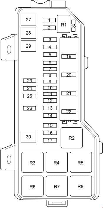 Toyota HiAce - fuse box diagram - engine comaprtment box