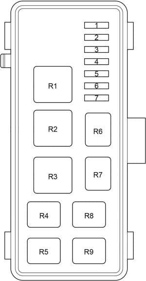 Toyota HiAce - fuse box diagram - passenger comaprtment relay box