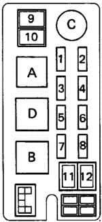 Toyota Hilux - fuse box diagram - engine compartment fuse box