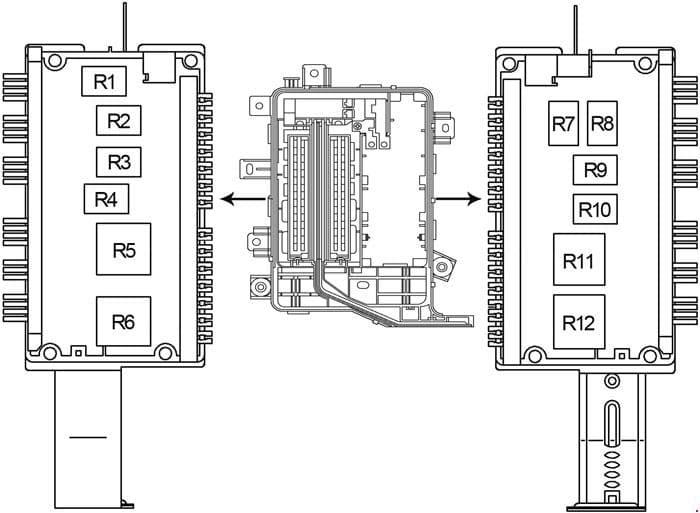 Toyota Land Cruiser 100 - fuse box diagram - engine compartment