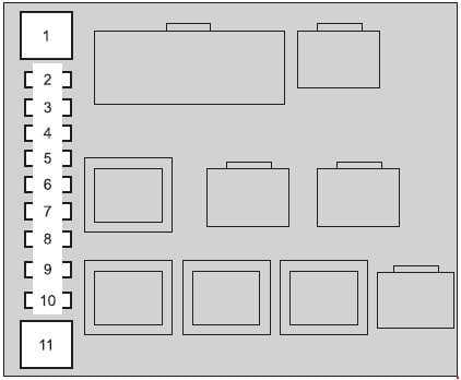 Toyota Land Cruiser - fuse box diagram - engine compartment (right side)
