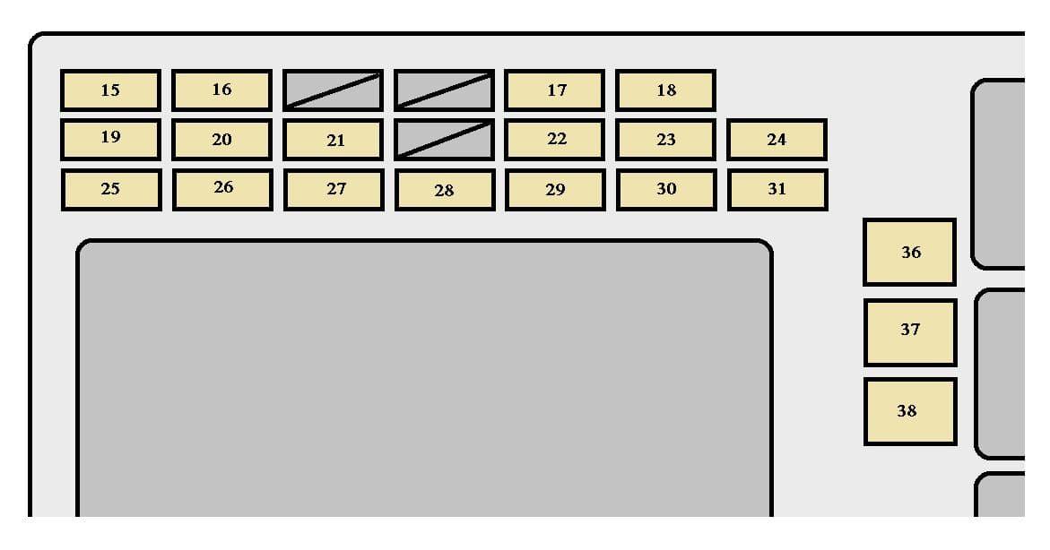 Toyota Matrix mk1 - fuse box - instrument panel