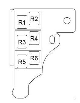 Toyota Prius - fuse box diagram - passenger compartment relay box LHD