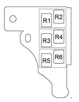 Toyota Prius - fuse box diagram - passenger compartment relay box RHD