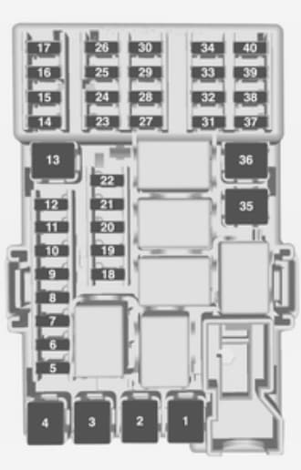 Opel Adam-2013 - bezpieczniki - deska rozdzielcza