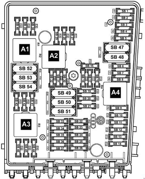 Volkswagen Caddy - fuse box diagram - fitting location of fuse holder B (B -SB-)