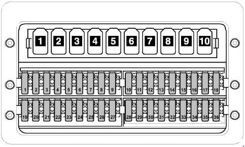 Volkswagen Crafter - fuse box diagram Fuses (SD) on fuse holder D, under driver seat,