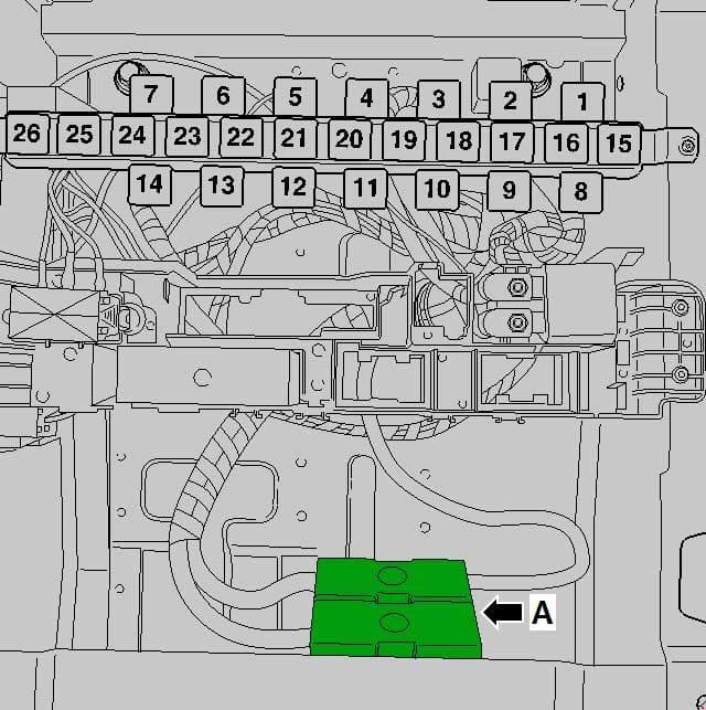 Volkswagen Crafter - fuse box diagram-Single fuses under driver seat (fusesfor special vehicles after May 2013)