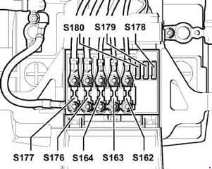 Volkswagen Golf - fuse box diagram - position of fuses in fuse holder/battery