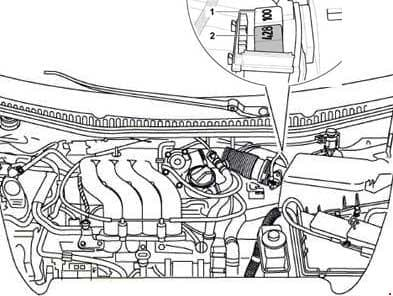 Volkswagen New Beetle - fuse box diagram - relay positions of relay carrier, in protective housing on left in engine compartment (from model year 2002 up to model year 2005)