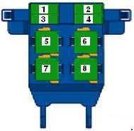 Volkswagen Passat B7 - fuse box diagram -Relay carrier on left under dash panel
