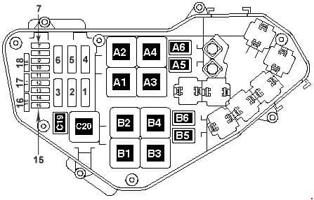 Volkswagen Toured - fuse box diagram - Engine compartment relay & fuse box (3.2 l (V6) petrol engine)